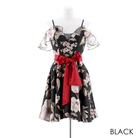 明日花キララ着用[SMLサイズ]FlowerオフショルリボンAラインミニドレス[3サイズ展開](ブラック-Sサイズ)