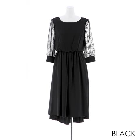 [MLサイズ]袖付きワンカラーAライン膝丈ドレス[2サイズ展開](ブラック-M)