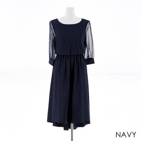 [MLサイズ]袖付きワンカラーAライン膝丈ドレス[2サイズ展開](ネイビー-M)