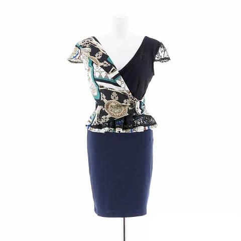 [2ピース][SMLサイズ]スカーフ柄ペプラムタイトミニドレス[3サイズ展開](ブルー×ネイビー-S)