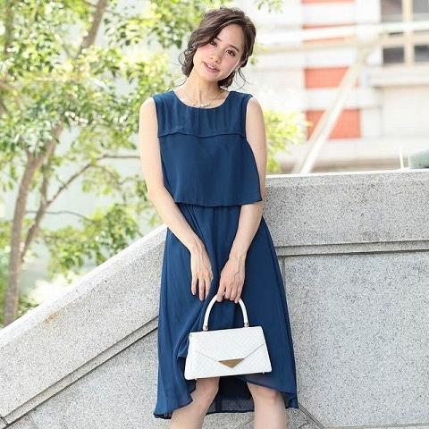 [SMLサイズ]シフォン切り替えスリーブAライン膝丈ドレス[3サイズ展開](ネイビー-Sサイズ)