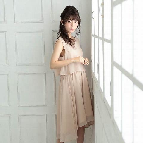 [SMLサイズ]シフォン切り替えスリーブAライン膝丈ドレス[3サイズ展開](モカ-Sサイズ)