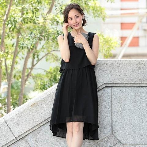 [SMLサイズ]シフォン切り替えスリーブAライン膝丈ドレス[3サイズ展開](ブラック-Sサイズ)
