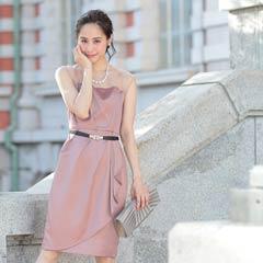 11/23UP[SMLサイズ]フリルデザインデコルテシアータイト膝丈ドレス[3サイズ展開]