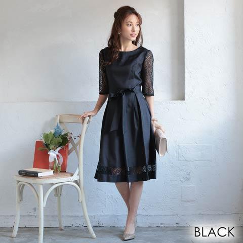 [MLサイズ]レース袖付きワンカラーリボンAライン膝丈ドレス[2サイズ展開](ブラック-Mサイズ)