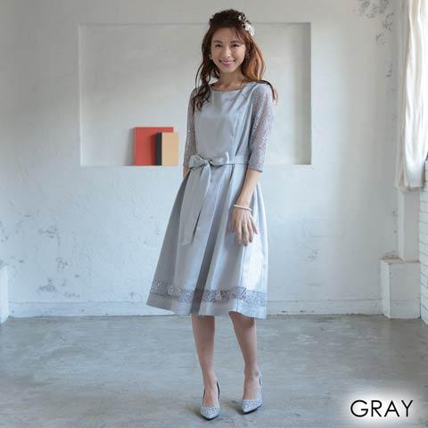 [MLサイズ]レース袖付きワンカラーリボンAライン膝丈ドレス[2サイズ展開](グレー-Mサイズ)