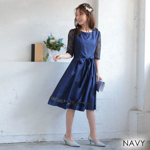 [MLサイズ]レース袖付きワンカラーリボンAライン膝丈ドレス[2サイズ展開](ネイビー-Mサイズ)
