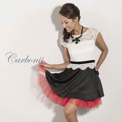 8/9UP[carbonii]デコルテレースxチュール裾Aラインミニドレス[CA901-600]