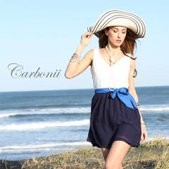 【50%OFF】[carbonii]バイカラー背中見せウエストリボンAラインミニドレス[CA504-622]