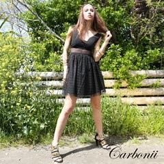 【50%OFF】[carbonii]デコルテ見せブラックチュールAラインミニドレス[CA504-605]