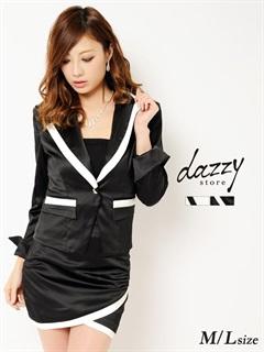 [ML/2サイズ][2点SET]バイカラー光沢サテンタイトスカートジャケットスーツセット