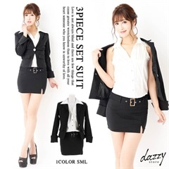 [2ピース][SMLサイズ]ジャケット付サテンストライプタイトミニドレススーツ[3サイズ展開]