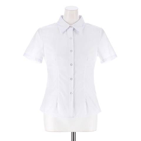 [S~LLサイズ]シンプル長袖ワイシャツ[4サイズ展開](半袖-S)