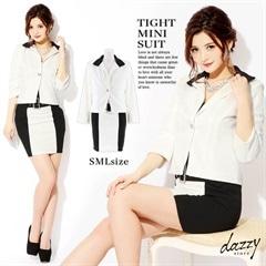 [2ピース][SMLサイズ]モノトーンバイカラーミニタイトスーツ[3サイズ展開]