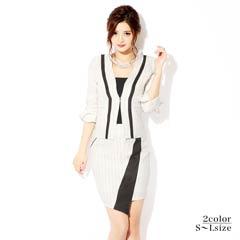 [2ピース][SMLサイズ]ペンシルストライプミニタイトスーツ[3サイズ展開]