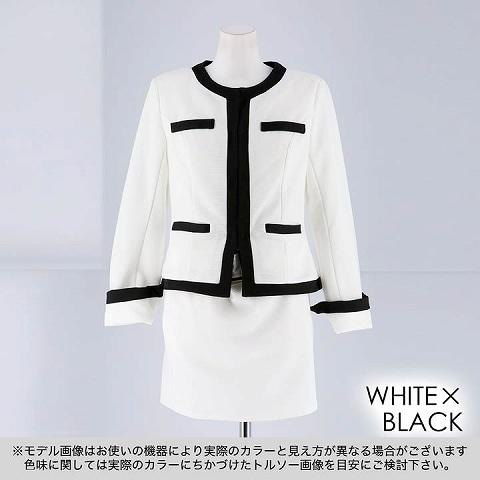 [2ピース][SMLサイズ]バイカラーウエストマークタイトミニスーツ[3サイズ展開](ホワイト×ブラック-Sサイズ)