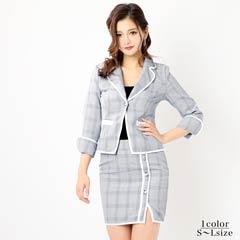 [2ピース][SMLサイズ]パイピングツイードミニタイトスーツ[3サイズ展開]