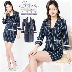[2ピース][SMLサイズ]ツイードストライプミニタイトスーツ[3サイズ展開]