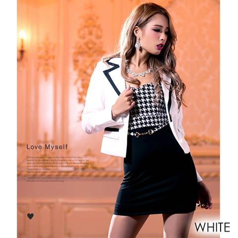 スーツ風千鳥ベアワンピース[my dress](ホワイト-フリーサイズ)