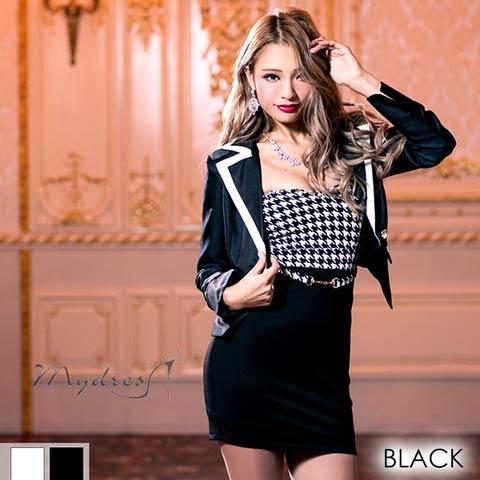 スーツ風千鳥ベアワンピース[my dress](ブラック-フリーサイズ)
