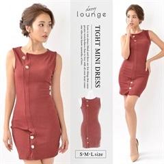[SMLサイズ]ワンカラーニットノースリーブミニタイトドレス[3サイズ展開]