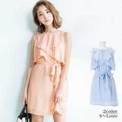 [S/SM/Mサイズ]フロントフリルウエストリボンノースリタイトドレス[3サイズ展開]