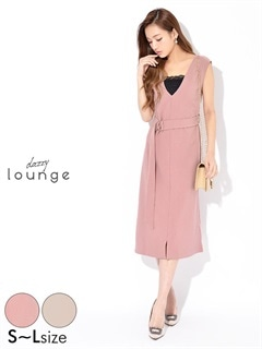 [SMLサイズ]ベルト付きワンカラーVネックタイトドレス[3サイズ展開]