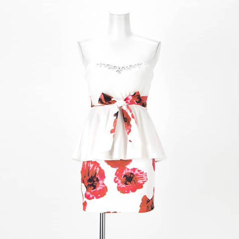[S~4Lサイズ]大柄花柄ペプラムベアタイトミニドレス[6サイズ展開](ホワイト-Sサイズ)