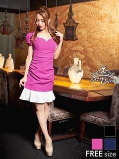 バイカラーマーメイドラインタイトドレス