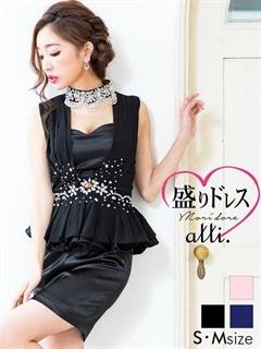 【盛りドレス】[S/Mサイズ]パールビジューネック胸見せハイネックぺプラムタイト盛りドレス[2サイズ展開]