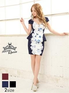 [S/Mサイズ]刺繍レース花柄ジャガードペプラムタイトミニドレス[2サイズ展開]