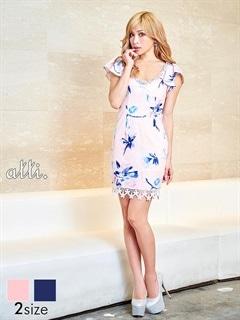 [SMLサイズ]フレアスリーブパステル花柄ミニドレス[3サイズ展開]