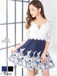 [S/Mサイズ]刺繍レース谷間見せ五分袖Aラインミニドレス[2サイズ展開]