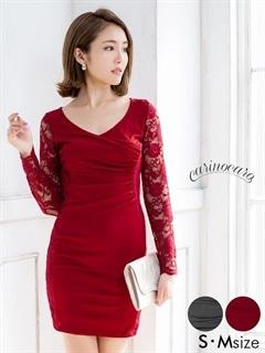 [S/Mサイズ]カシュクール風長袖レースタイトミニドレス[2サイズ展開]