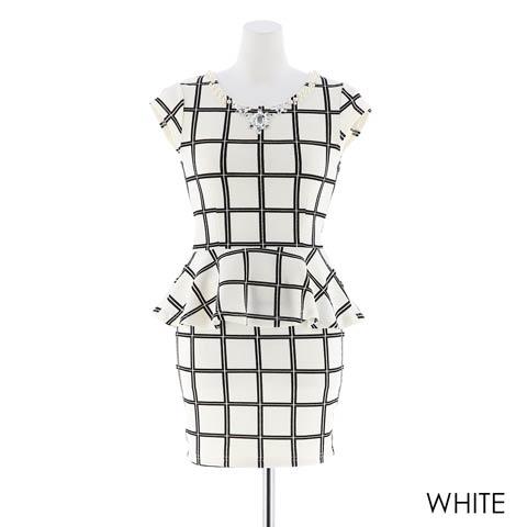 [SMLサイズ][2ピース]バイカラーチェック柄ぺプラムタイトミニドレス[3サイズ展開](ホワイト-S)