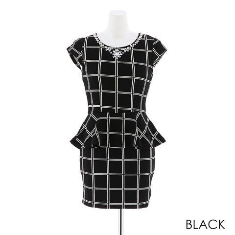 [SMLサイズ][2ピース]バイカラーチェック柄ぺプラムタイトミニドレス[3サイズ展開](ブラック-S)