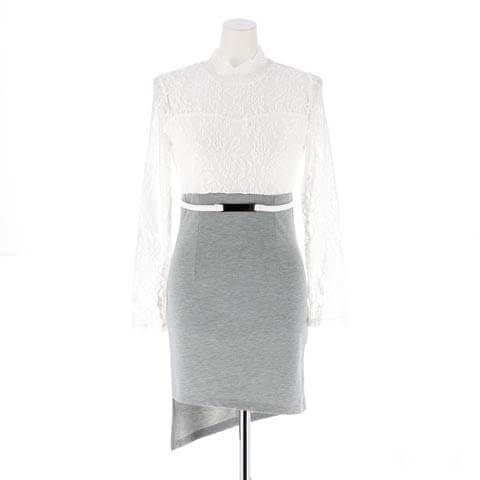 [S~LLサイズ]レースシースルー長袖タイト膝丈ドレス[6サイズ展開](ホワイト-S/ミニ丈)