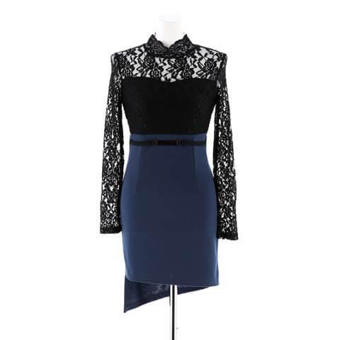 [S~LLサイズ]レースシースルー長袖タイト膝丈ドレス[6サイズ展開](ブラック-S/ミニ丈)