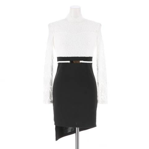 [S~LLサイズ]レースシースルー長袖タイト膝丈ドレス[6サイズ展開](ホワイト×ブラック-S/ミニ丈)