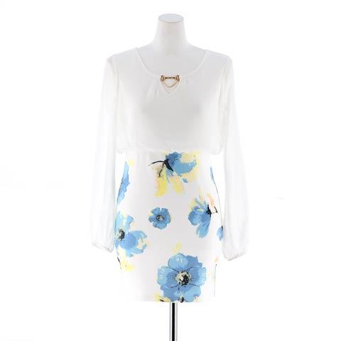 [S~4Lサイズ]花柄シフォン長袖スリーブタイトミニドレス[6サイズ展開](ホワイト-XSサイズ)