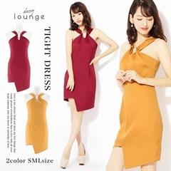 10/26UP[SMLサイズ]ワンカラーアシメミニタイトドレス[3サイズ展開]