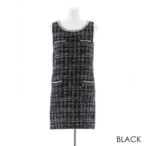 [SMLサイズ]モノトーンツイードタイトミニドレス[3サイズ展開](ブラック-S)
