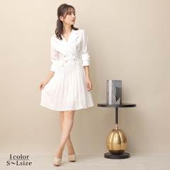 9/21UP[SMLサイズ]ワンカラー襟付きAライン膝丈ドレス[3サイズ展開]
