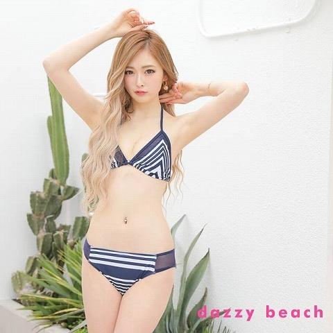 ボーダー柄三角ビキニ/水着【dazzy beach/2021ビキニ】(ホワイト×ネイビー-Sサイズ)
