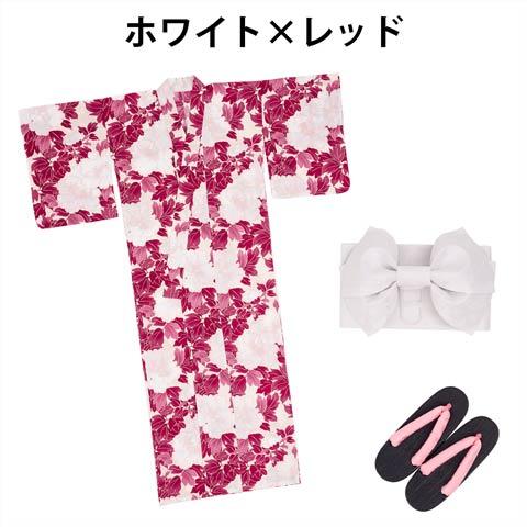大判牡丹柄浴衣3点セット[YUKATA by dazzy](ホワイト×レッド)