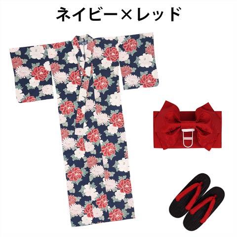 牡丹x菊柄浴衣3点セット[YUKATA by dazzy](牡丹/赤)