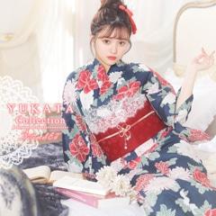 牡丹x菊柄浴衣3点セット[2019年新作/YUKATA by dazzy]