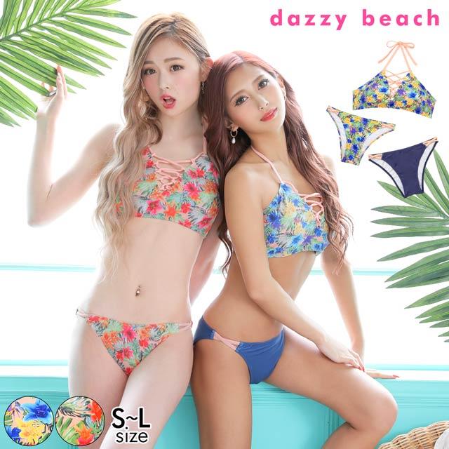 [3点SET]トロピカル柄ハイネックレースアップアメスリビキニ/水着【dazzy beach/2021ビキニ】