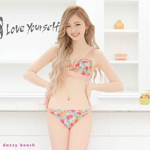 [3点SET]トロピカル柄バックリボンビキニ/水着【dazzy beach/2021ビキニ】(ピンク-Sサイズ)