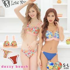 [3点SET]トロピカル柄バックリボンビキニ/水着【dazzy beach】